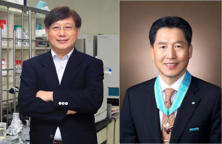 이진호 한남대 신소재공학과 교수(사진 왼쪽)와 김병순 나노하이테크 대표가 2021 한빛대상 과학기술과 지역경제발전 부문에 각각 선정됐다.[사진= 한남대]