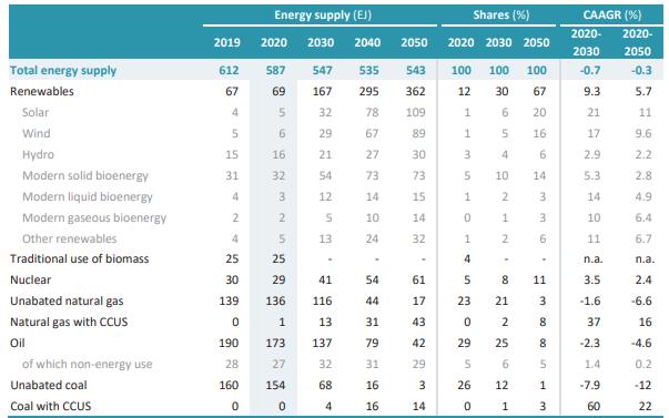 2050년 NZE 시나리오의 전 세계 1차 공급 에너지.[이미지= IEA]